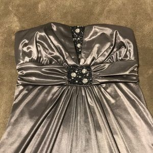 Grey Satin Full-Length Gown